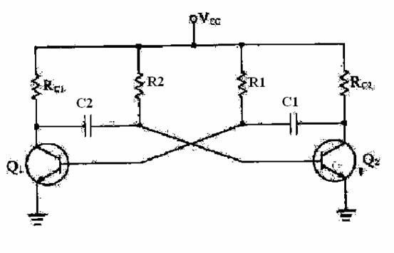 从电路结构上看,自微多谐振荡器与两级rc正弦振荡器是相似的,但实际上