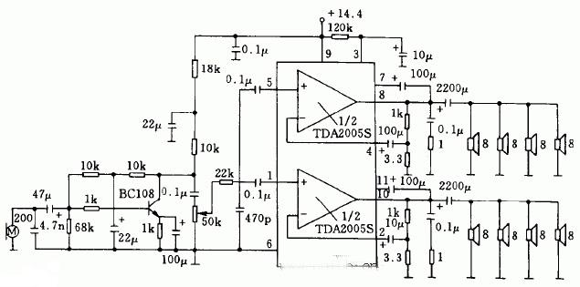 20w公共汽车收音机和扩音机电路采用tda2005s双低频功率放大集成电路