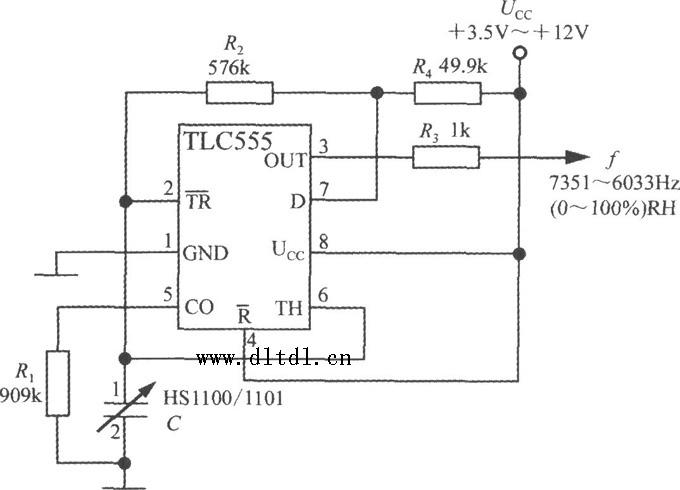 线性频率输出式相对湿度测量电路如图所示,电源电压范围是ucc= 3.