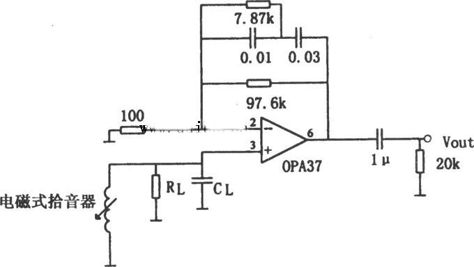 输入信号加在opa37的同相输入端(引脚3),电路中的rl,cl为电磁式拾音器
