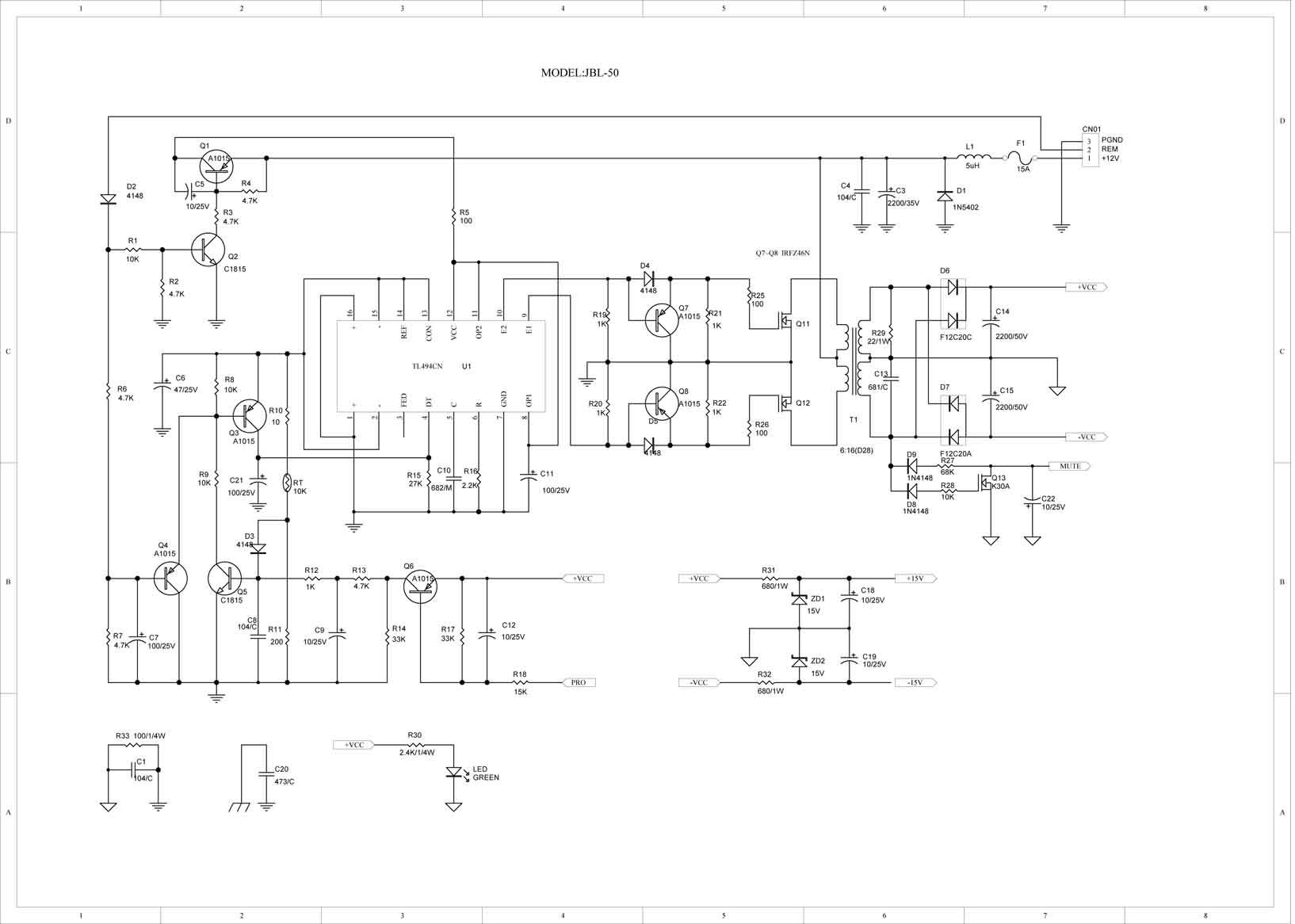 tl494cn芯片的汽车功放电路图