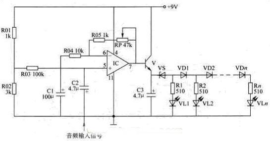 LM324芯片制作LED电平指示器电路