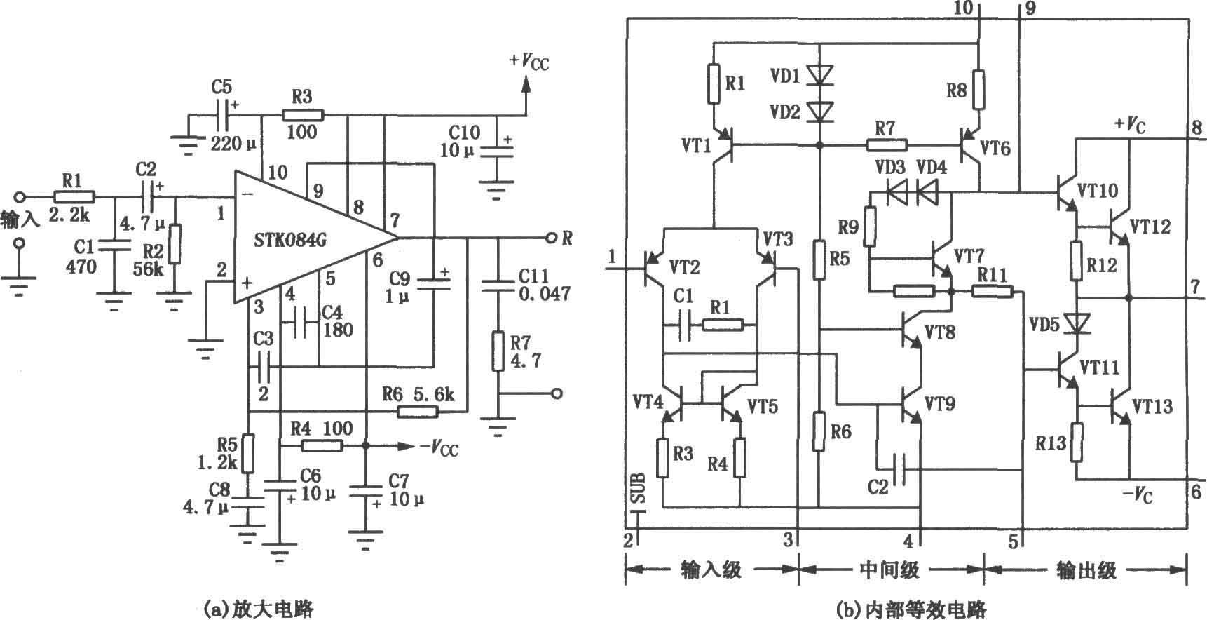 图(a)是由stk084g厚膜功放构成的50w输出功率放大电路.