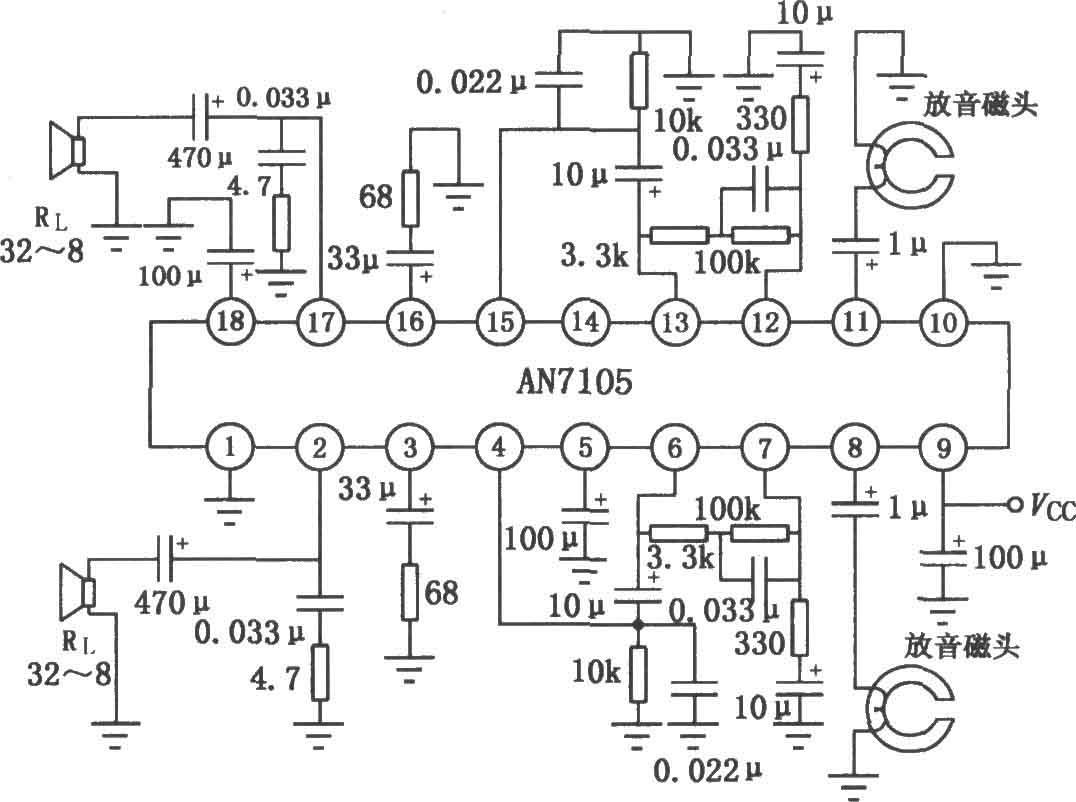 an7105单片立体声放音机电路