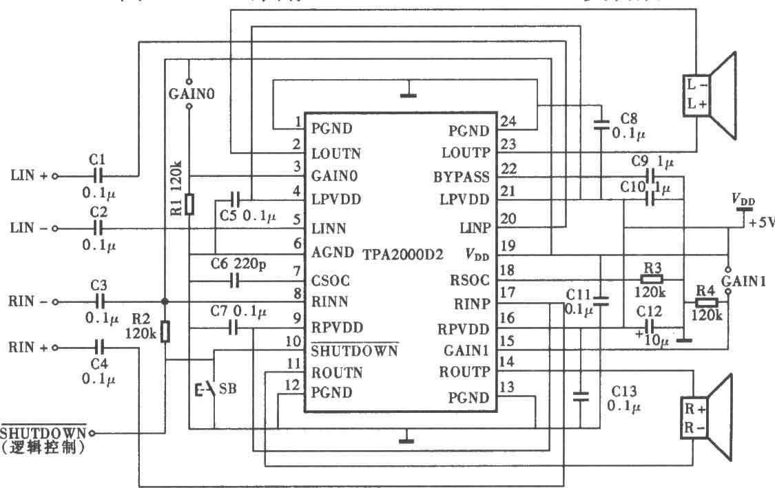 tpa2000d22wd类功放电路