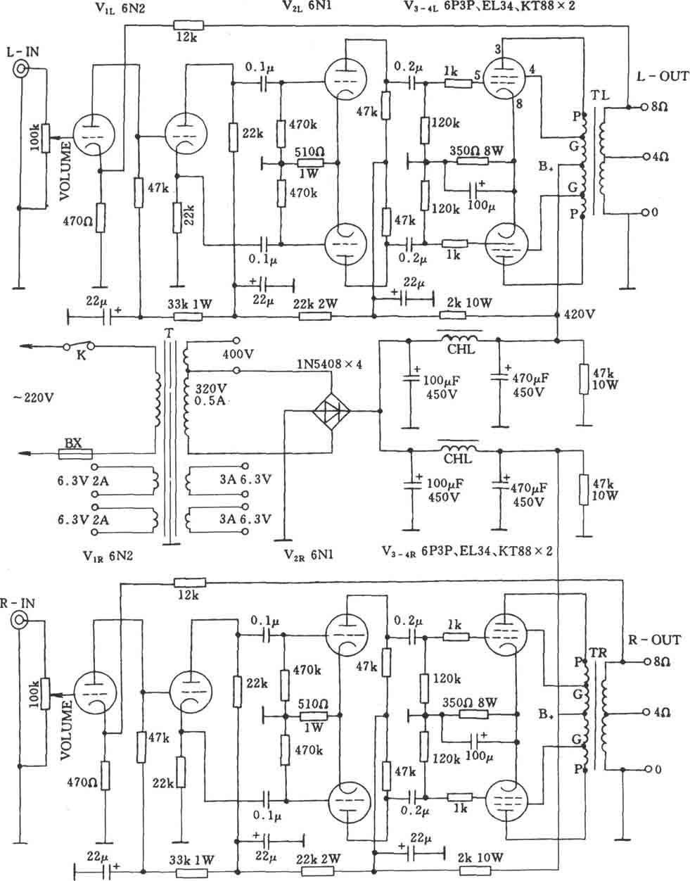 电子管斯巴克765a(spark765a)功放电路图