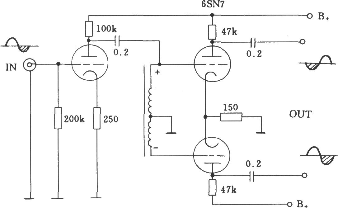 电子管扼流圈倒相电路