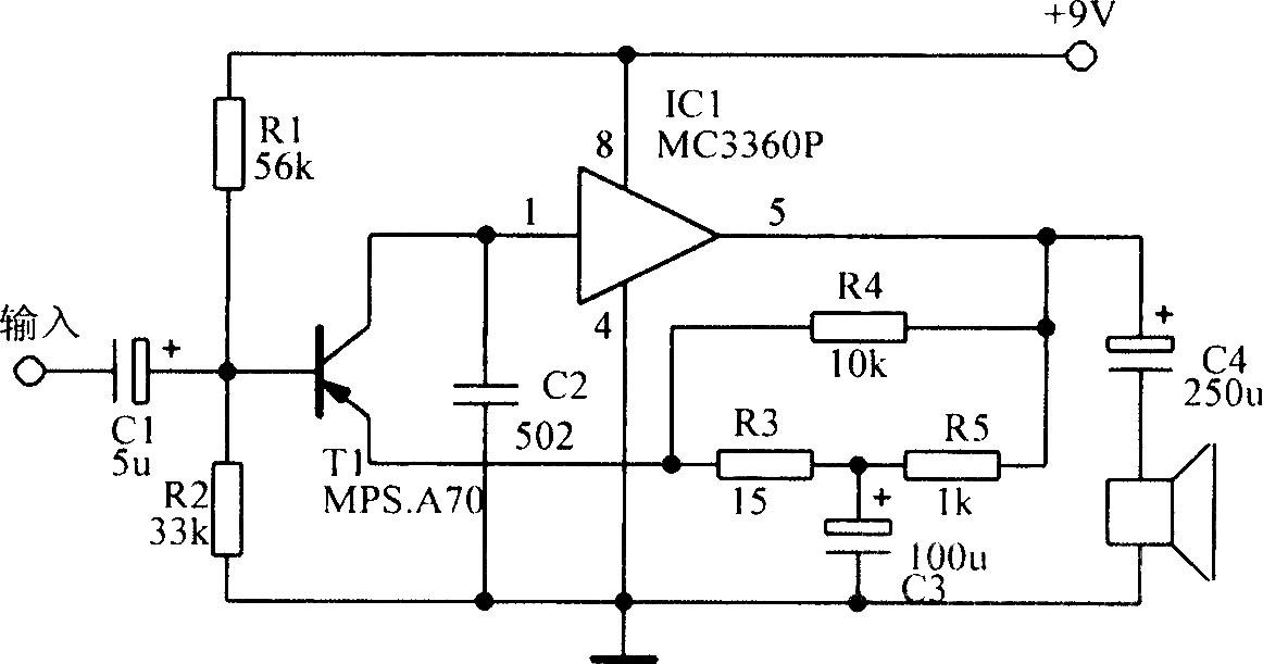 mc3360p组成的音频功放电路