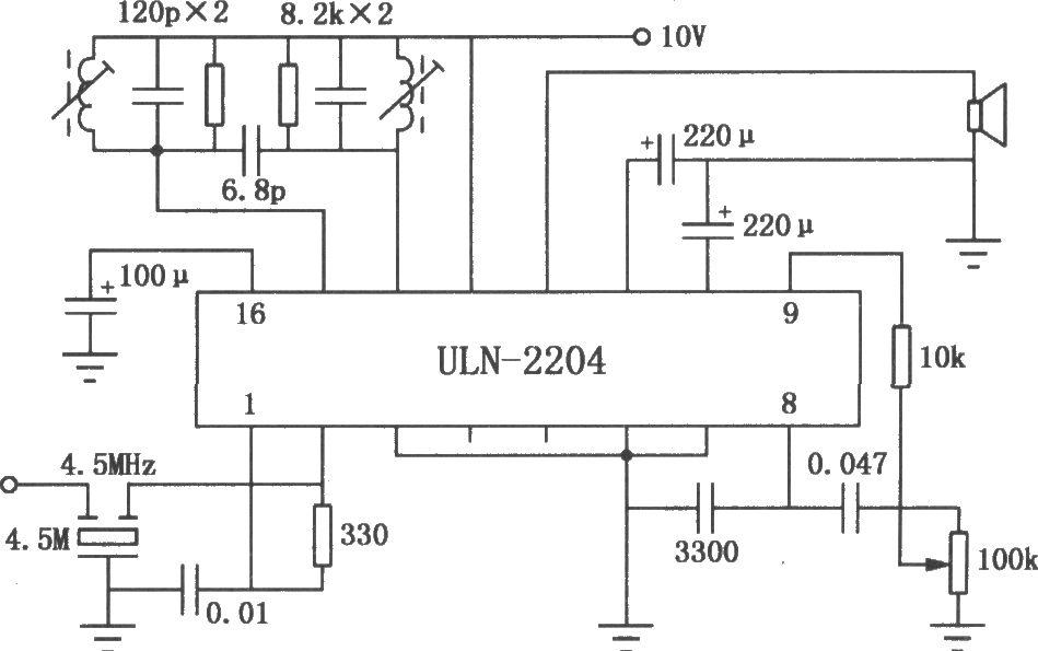 uln2204a fm/am收音机电路