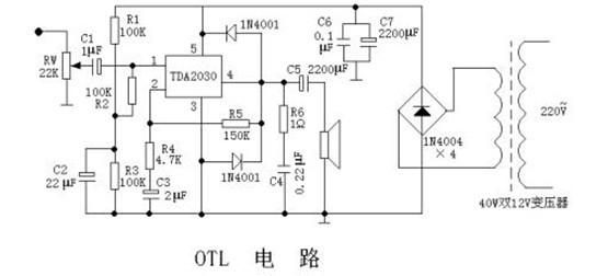 单电源供电音频放大电路是典型应用电路, 由一块tda 2030和较少元件