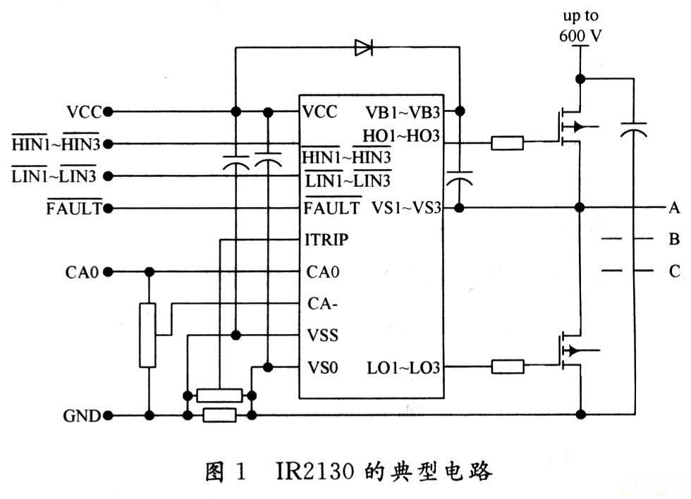 三相全桥逆变电路选用6个功率mosfetrfp40n10,一片ir2130和一些电阻