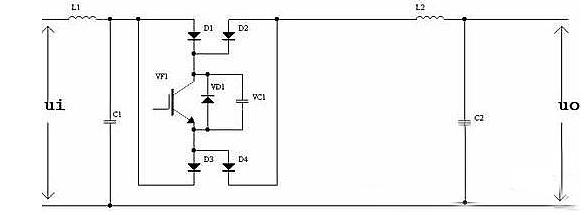 引入并联快速二极管及保护电容纯正弦波调光器的主igbt回路示意图