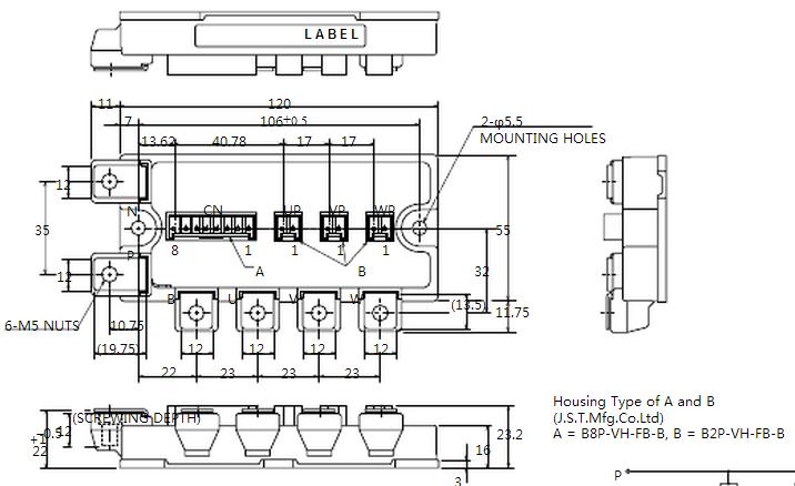 产品描述: 三菱CM100TL-12NF IGBT模块采用最新的CSTBTTM硅片技术,实现了开关速度控制的最优化;饱和压降低于业界同类产品;采用超高速续流二极管,其恢复特性好,拖尾电流极低;模块内部寄生电感低,应用于电流谐振逆变器时损耗较以前大大降低。另外该IGBT模块的外形尺寸和目前市场上所普遍采用的完全兼容,开关频率可达30kHz,是变频焊接设备等中高频开关应用的一种非常理想的电力电子器件。CM100TL-12NF 属于三菱第5代NF系列IGBT模块,具有6单元拓扑电路结构,广泛应用于大功率开关应