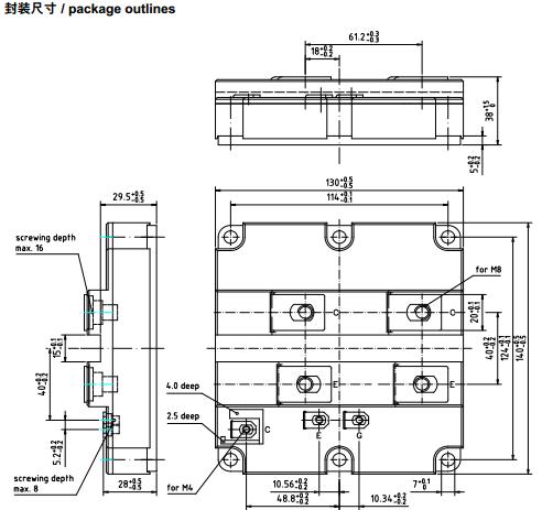 fz1200r17ke3封装外形尺寸和结构图