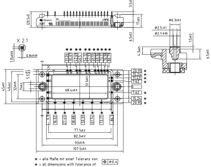 英飞凌fp25r12ke3 外形封装尺寸和结构图